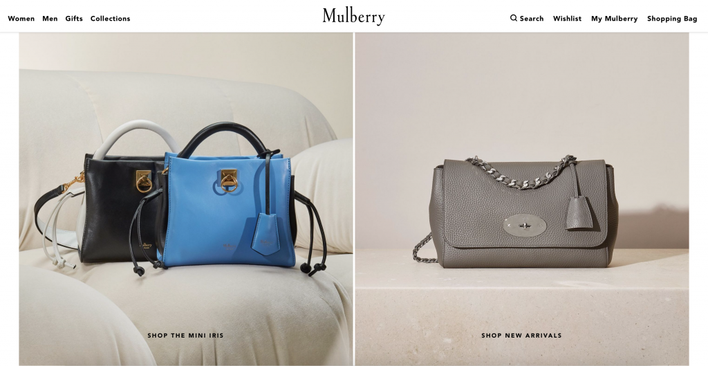 mulberry homepage displaying bags