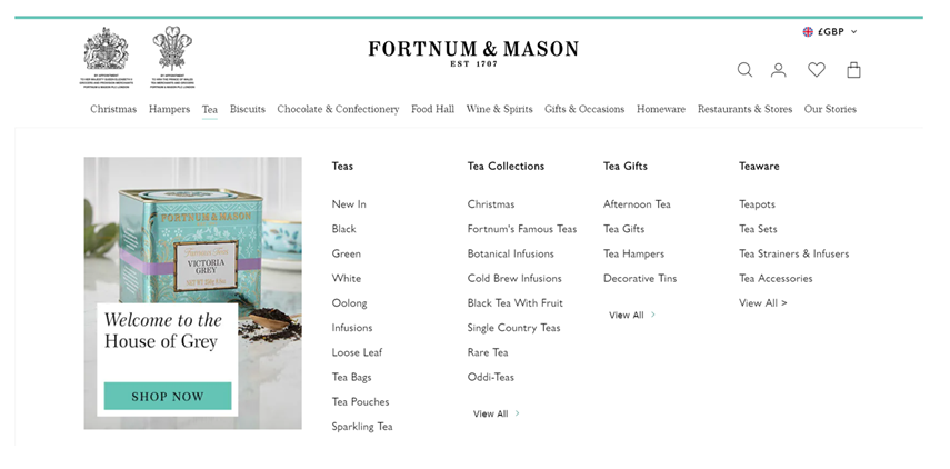 Fortnum & Mason's website navigation