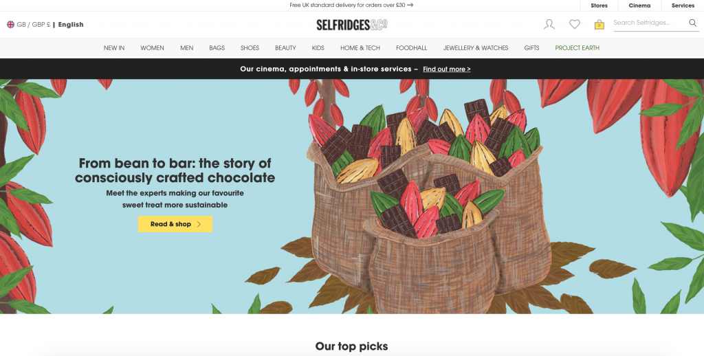 Selfridges read and shop feature pages