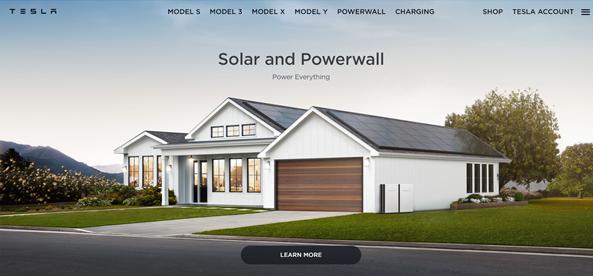 tesla website homepage